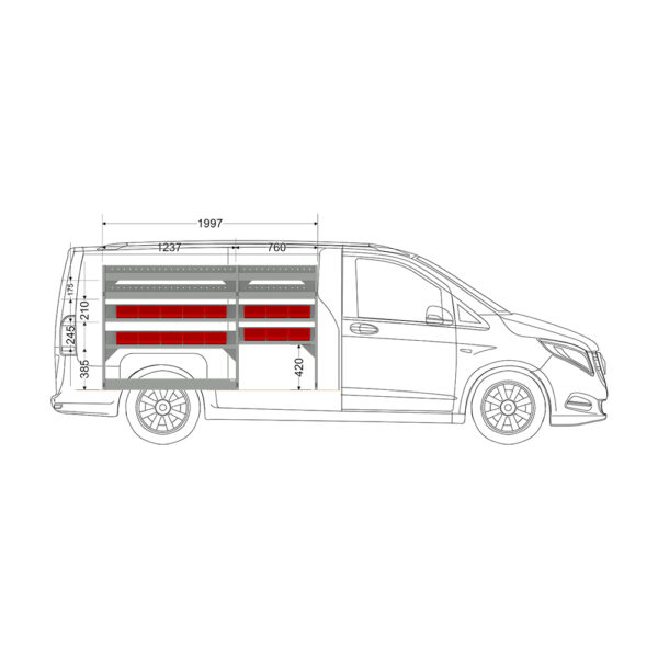 Zevim Bedrijfswageninrichting t.b.v. Mercedes Vito L2H1. Budget opstelling 01 Links rood met magazijnbakken en verdeelschotten, zijaanzicht.