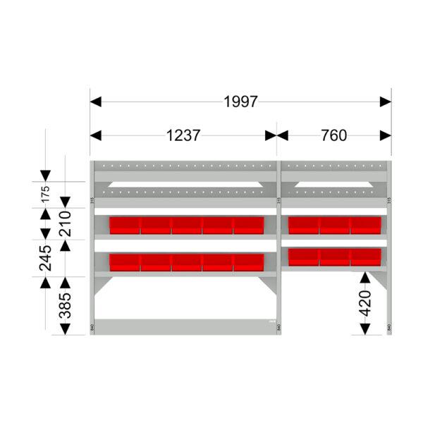Zevim Bedrijfswageninrichting t.b.v. Mercedes Vito L2H1. Budget opstelling 01 Links rood met magazijnbakken en verdeelschotten, met afmetingen.