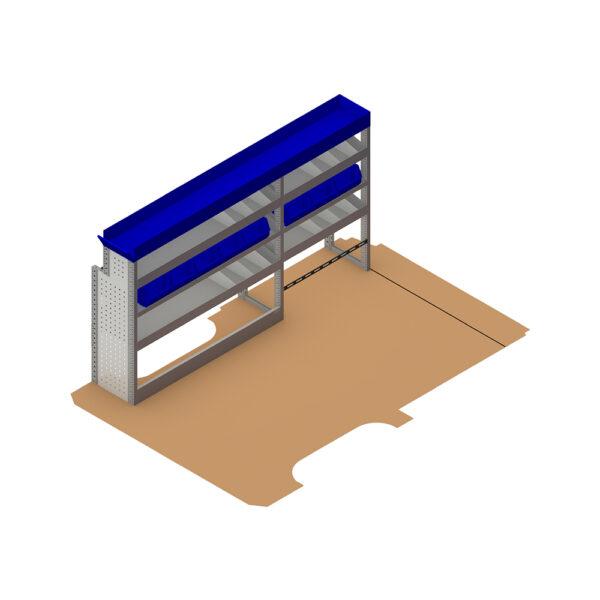 Zevim Bedrijfswageninrichting t.b.v. Mercedes Vito L2H1. Budget opstelling 02 Links blauw met opzetbak, magazijnbakken en verdeelschotten, plaatsing ten opzichte van de vloerplaat.