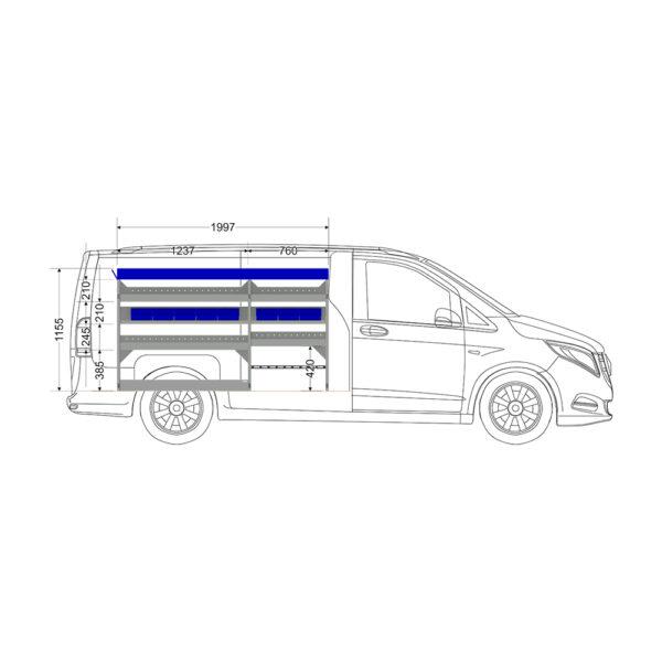 Zevim Bedrijfswageninrichting t.b.v. Mercedes Vito L2H1. Budget opstelling 02 Links blauw met opzetbak, magazijnbakken en verdeelschotten, zijaanzicht.