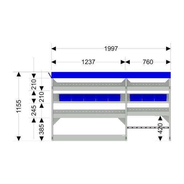 Zevim Bedrijfswageninrichting t.b.v. Mercedes Vito L2H1. Budget opstelling 02 Links blauw met opzetbak, magazijnbakken en verdeelschotten, afmetingen.