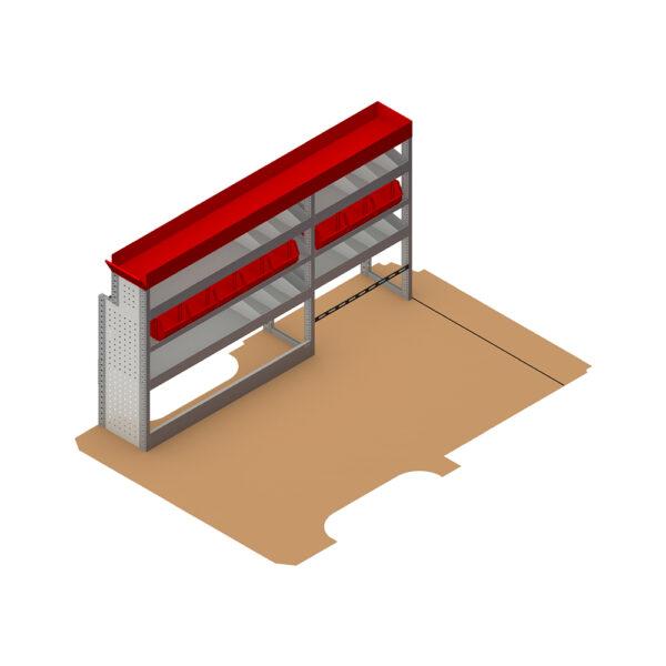 Zevim Bedrijfswageninrichting t.b.v. Mercedes Vito L2H1. Budget opstelling 02 Links rood met opzetbak, magazijnbakken en verdeelschotten, plaatsing ten opzichte van de vloerplaat.