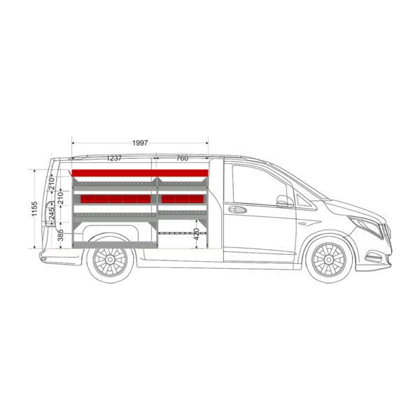 Zevim Bedrijfswageninrichting t.b.v. Mercedes Vito L2H1. Budget opstelling 02 Links rood met opzetbak, magazijnbakken en verdeelschotten, zijaanzicht.