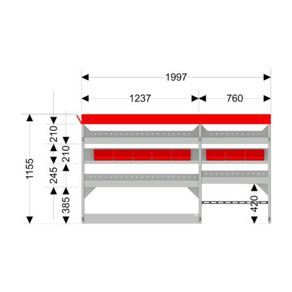Zevim Bedrijfswageninrichting t.b.v. Mercedes Vito L2H1. Budget opstelling 02 Links rood met opzetbak, magazijnbakken en verdeelschotten, afmetingen.