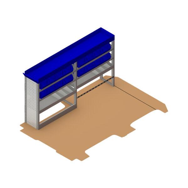 Zevim Bedrijfswageninrichting t.b.v. Renault Trafic L1H1. Budget opstelling 02 Links blauw met opzetbak, magazijnbakken, verdeelschotten en Sjorband met gesp en snelspan fitting, plaatsing ten opzichte van de vloerplaat