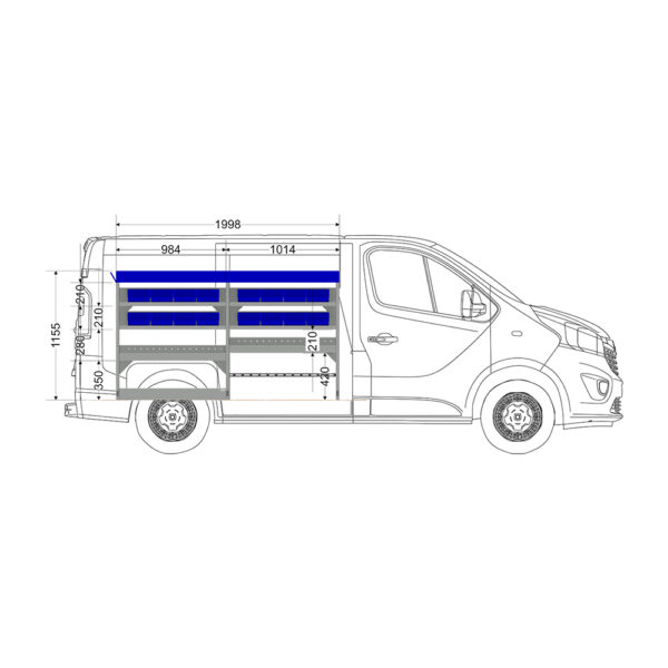 Zevim Bedrijfswageninrichting t.b.v. Renault Trafic L1H1. Budget opstelling 02 Links blauw met opzetbak, magazijnbakken, verdeelschotten en Sjorband met gesp en snelspan fitting, zijaanzicht