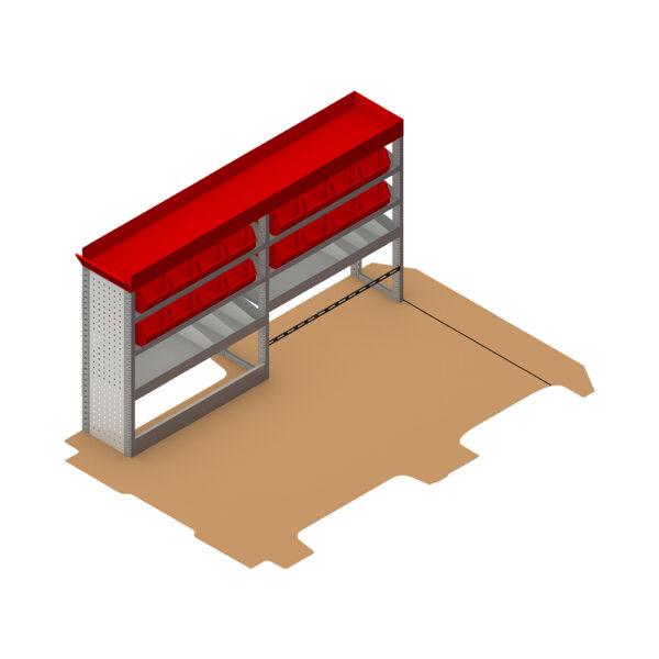 Zevim Bedrijfswageninrichting t.b.v. Renault Trafic L1H1. Budget opstelling 02 Links rood met opzetbak, magazijnbakken, verdeelschotten en Sjorband met gesp en snelspan fitting, plaatsing ten opzichte van de vloerplaat
