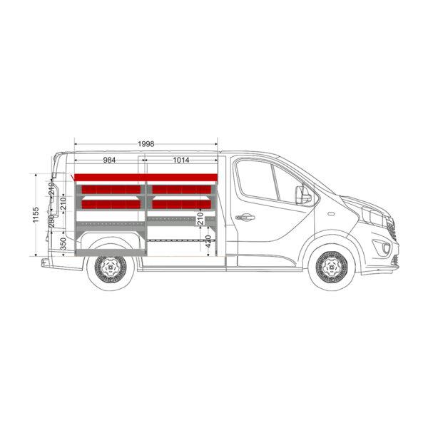 Zevim Bedrijfswageninrichting t.b.v. Renault Trafic L1H1. Budget opstelling 02 Links rood met opzetbak, magazijnbakken, verdeelschotten en Sjorband met gesp en snelspan fitting, zijaanzicht
