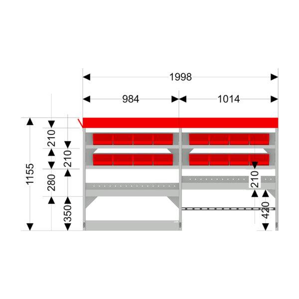 Zevim Bedrijfswageninrichting t.b.v. Renault Trafic L1H1. Budget opstelling 02 Links rood met opzetbak, magazijnbakken, verdeelschotten en Sjorband met gesp en snelspan fitting, met afmetingen